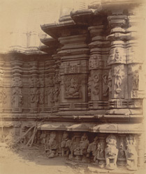 Close view of exterior wall of shrine of the Kopeshvara Temple, Khedrapur, showing moulding and sculpture details 10032146